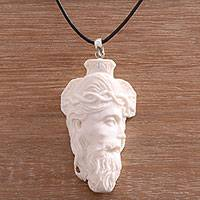 Bone pendant necklace, 'Jesus Portrait' - Hand-Carved Bone Jesus Pendant Necklace from Bali