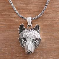Sterling silver pendant necklace, 'Wolf' - Handcrafted Sterling Silver Wolf Head Pendant Necklace