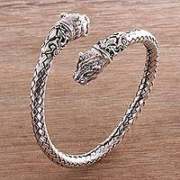 Sterling silver cuff bracelet, 'Tiger Twins' - Handcrafted Sterling Silver Woven Cuff Tiger Head Bracelet