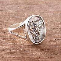 Sterling silver signet ring, 'Elephant Traipse' - Sterling Silver Elephant Signet Ring from Bali