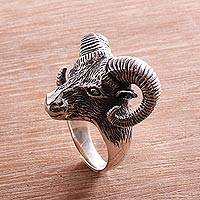 Sterling silver cocktail ring, 'Ram Gaze' - Sterling Silver Ram Head Cocktail Ring Crafted in Bali