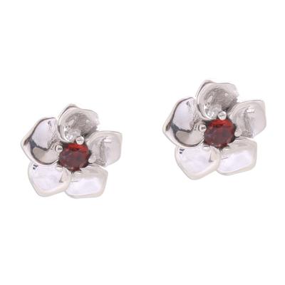 Floral Garnet Stud Earrings Hand Crafted in Bali