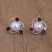 Cultured pearl and garnet stud earrings, Sparks Fly