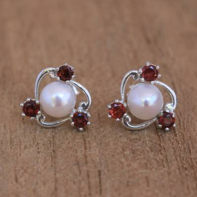 Cultured pearl and garnet stud earrings, 'Sparks Fly' - Cultured Pearl and Garnet Stud Earrings from Bali