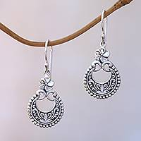 Sterling silver dangle earrings, 'Frangipani Crescents' - Floral Sterling Silver Dangle Earrings Crafted in Bali