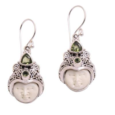 Peridot dangle earrings, 'Celuk Pangeran' - Peridot and Carved Bone Dangle Earrings from Bali