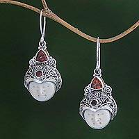 Garnet dangle earrings, 'Celuk Pangeran' - Garnet and Carved Bone Dangle Earrings from Bali