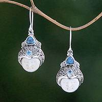 Blue topaz dangle earrings, 'Celuk Pangeran' - Blue Topaz and Carved Bone Dangle Earrings from Bali