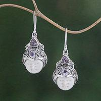 Amethyst dangle earrings, 'Celuk Pangeran' - Amethyst and Carved Bone Dangle Earrings from Bali