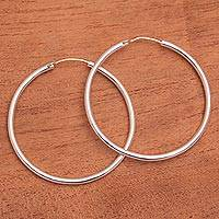 Sterling silver hoop earrings, 'Simple Thought' - Simple Sterling Silver Hoop Earrings from Bali