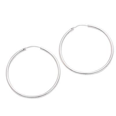 Sterling silver hoop earrings, 'Simple Thought' - Simple Sterling Silver Hoop Earrings from Bali