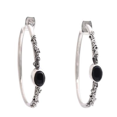 Onyx half-hoop earrings, 'Bali Memories' - Onyx Half-Hoop Earrings from Bali