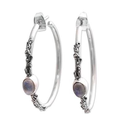 Rainbow Moonstone Half-Hoop Earrings Crafted in Bali