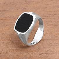 Onyx signet ring, 'Dark Realm' - Rectangular Black Onyx Signet Ring from Bali