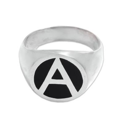 Sterling silver signet ring, 'Dark A' - 'A' Motif Sterling Silver Signet Ring Crafted in Bali