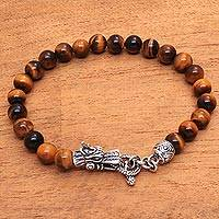 Men's tiger's eye beaded bracelet, 'Dragon Pride in Brown' - Men's Dragon-Themed Tiger's Eye Beaded Bracelet from Bali