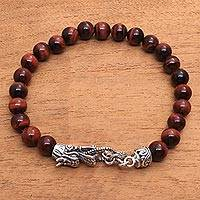Men's tiger's eye beaded bracelet, 'Dragon Pride in Red' - Men's Dragon-Themed Tiger's Eye Beaded Bracelet in Red