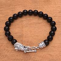 Men's onyx beaded bracelet, 'Dark Stallion' - Men's Horse-Themed Onyx Beaded Bracelet from Bali