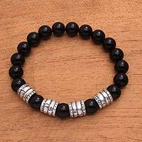 Men's onyx beaded stretch bracelet, 'Midnight Bark' - Men's Onyx Beaded Stretch Bracelet from Bali