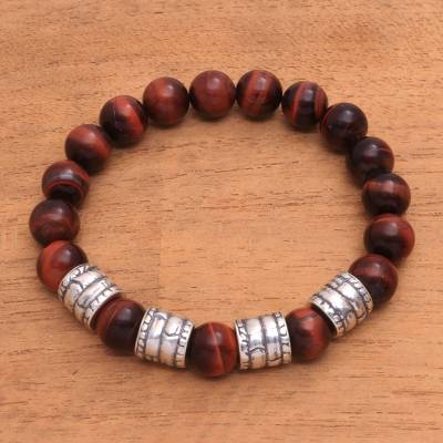 Men's tiger's eye beaded stretch bracelet, 'Sunrise Bark' - Men's Tiger's Eye Beaded Stretch Bracelet from Bali
