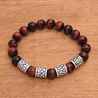 Men's tiger's eye beaded stretch bracelet, 'Through the Cracks' - Men's Tiger's Eye Beaded Stretch Bracelet from Bali