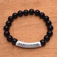 Men's onyx pendant bracelet, 'Arched Weave' - Men's Onyx Beaded Pendant Bracelet from Bali
