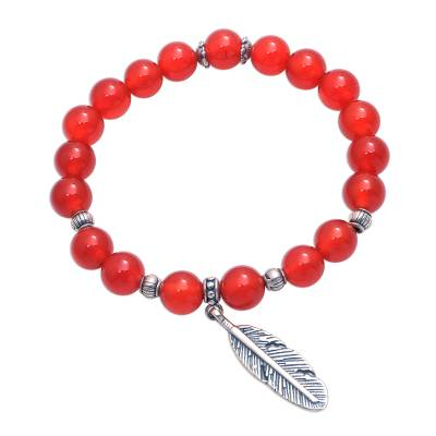 Carnelian Feather Beaded Stretch Bracelet from Bali