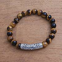 Tiger's eye beaded stretch bracelet, 'Pura Wangi' - Tiger's Eye Beaded Stretch Pendant Bracelet from Bali
