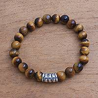 Tiger's eye beaded stretch bracelet, 'Bamboo Bark' - Tiger's Eye Beaded Stretch Bracelet from Bali