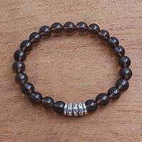 Smoky quartz beaded stretch bracelet, 'Bamboo Bark' - Smoky Quartz Beaded Stretch Bracelet from Bali