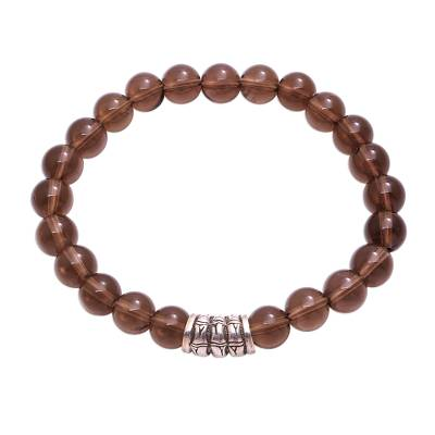 Smoky Quartz Beaded Stretch Bracelet from Bali