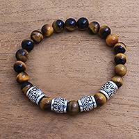 Tiger's eye beaded stretch bracelet, 'Batur Heritage' - Tiger's Eye and Sterling Silver Beaded Stretch Bracelet