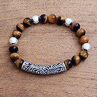 Tiger's eye beaded stretch bracelet, 'Gleaming Arch' - Tiger's Eye and Sterling Silver Beaded Stretch Bracelet