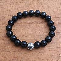 Onyx beaded stretch bracelet, 'Spheres of Darkness' - Black Onyx and Sterling Silver Beaded Stretch Bracelet
