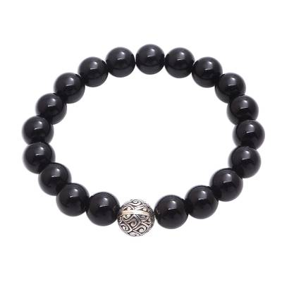 Black Onyx and Sterling Silver Beaded Stretch Bracelet