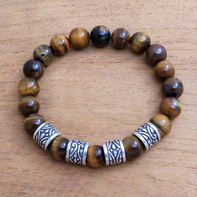 Men's beaded stretch bracelet, 'Shadow Shrine' - Men's Tiger's Eye Beaded Stretch Bracelet from Bali