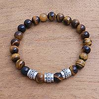 Men's tiger's eye beaded stretch bracelet, 'Brotherly Bond' - Men's Tiger's Eye Beaded Stretch Bracelet from Bali