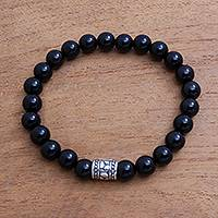 Onyx beaded stretch bracelet, 'Midnight Pebbles' - Black Onyx Beaded Stretch Bracelet from Bali