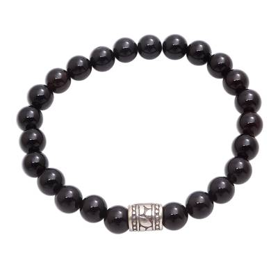 Black Onyx Beaded Stretch Bracelet from Bali