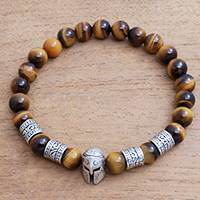Men's tiger's eye beaded stretch bracelet, 'Spartan Spirit' - Men's Spartan-Themed Tiger's Eye Beaded Stretch Bracelet