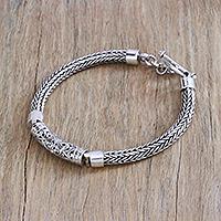 Sterling silver pendant bracelet, 'Elegant Totem' - Sterling Silver Openwork Pendant Bracelet from Bali