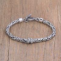 Sterling silver pendant bracelet, 'Borobudur Swirls' - Sterling Silver Borobudur Pendant Bracelet from Bali