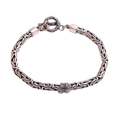 Sterling Silver Borobudur Pendant Bracelet from Bali