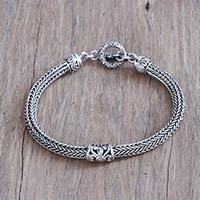 Sterling silver pendant bracelet, 'Naga Tendrils'