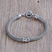 Sterling silver pendant bracelet, 'Naga Tendrils' - Swirl Motif Sterling Silver Naga Pendant Bracelet from Bali