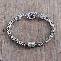 Sterling silver pendant bracelet, 'Borobudur Elegance' - Artisan Crafted Sterling Silver Pendant Bracelet from Bali