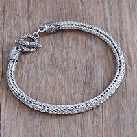 Men's sterling silver chain bracelet, 'Masculine Naga' - Men's Sterling Silver Naga Chain Bracelet from Bali