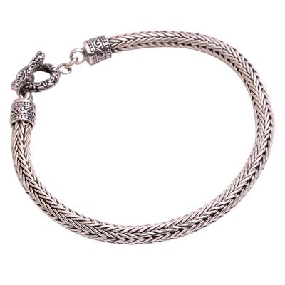 Men's sterling silver chain bracelet, 'Masculine Naga' - Men's Sterling Silver Naga Chain Bracelet from Bali