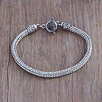 Men's sterling silver chain bracelet, 'Naga Forest'