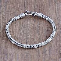 Men's sterling silver chain bracelet, 'Naga Spirit' - Men's Artisan Crafted Sterling Silver Naga Chain Bracelet